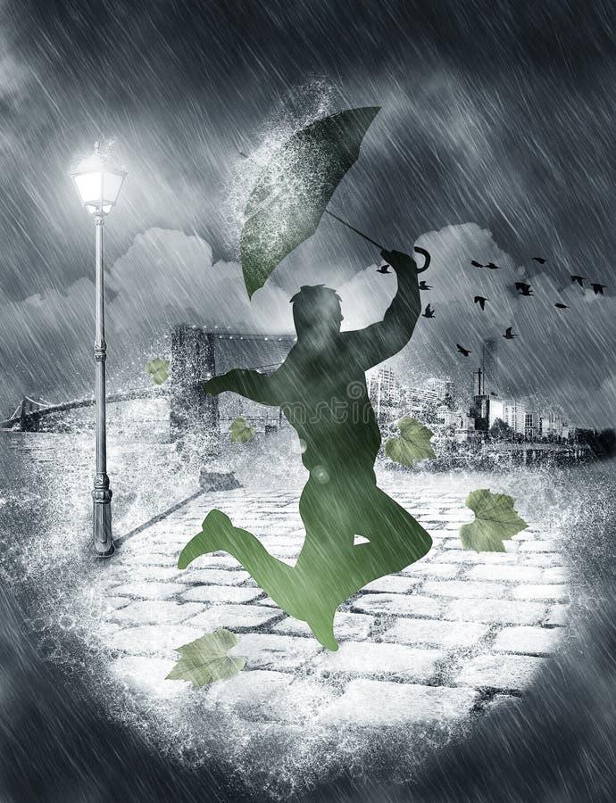 Baile del hombre en fuertes lluvias stock de ilustración