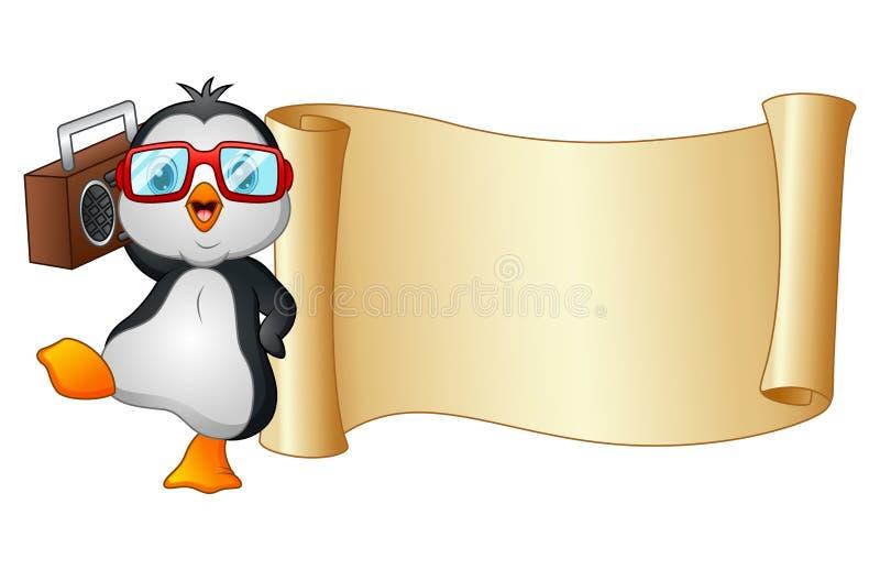 Baile del pingüino de la historieta con una voluta de la grabadora y del papel libre illustration