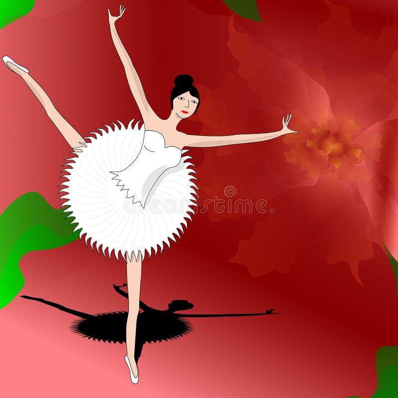 Baile delgado de la bailarina en el pétalo de la flor roja hermosa imágenes de archivo libres de regalías