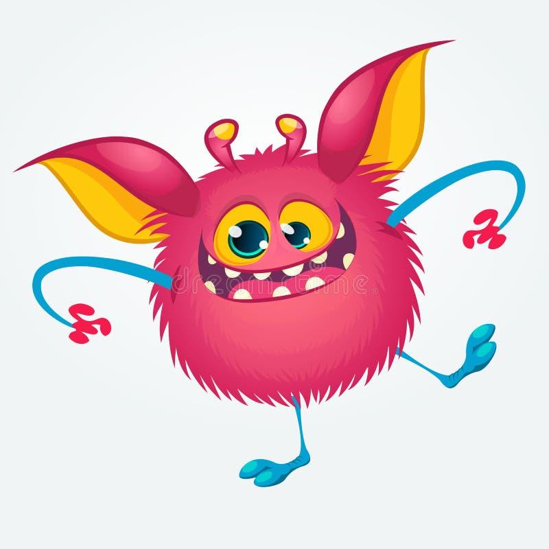 Baile divertido contento del monstruo de la historieta Ejemplo del vector de Halloween del duende o del duendecillo libre illustration