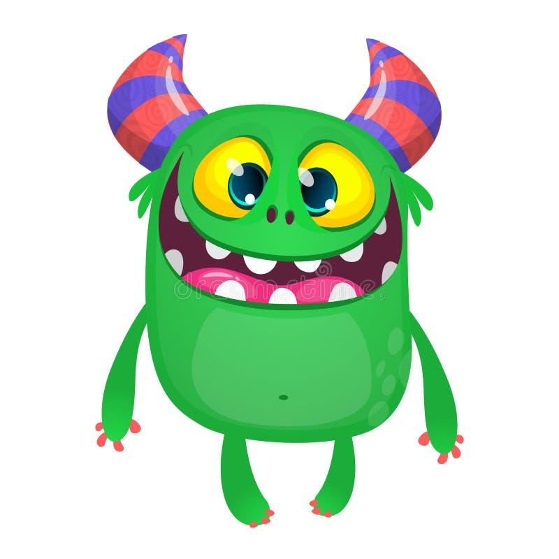 Baile divertido contento del monstruo de la historieta Ejemplo del vector de Halloween del duende o del duendecillo divertido libre illustration