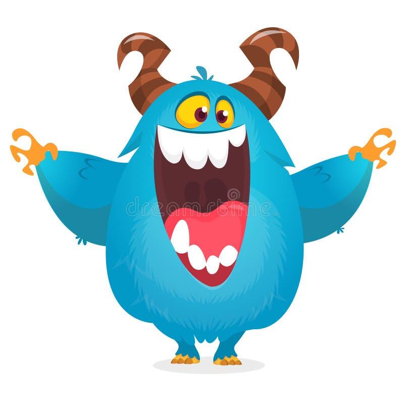 Baile divertido contento del monstruo de la historieta Ejemplo del vector de Halloween del duende o del duendecillo divertido stock de ilustración