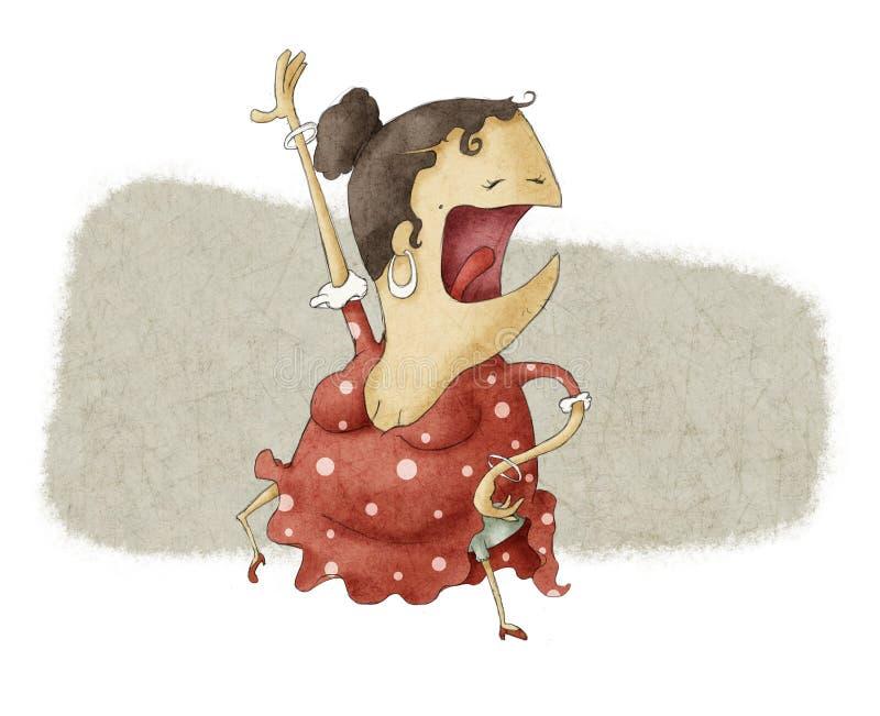 Baile divertido del flamenco ilustración del vector