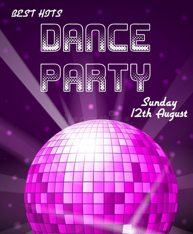 Baile el fondo del evento del vector del día de fiesta del partido de disco o la invitación del club stock de ilustración