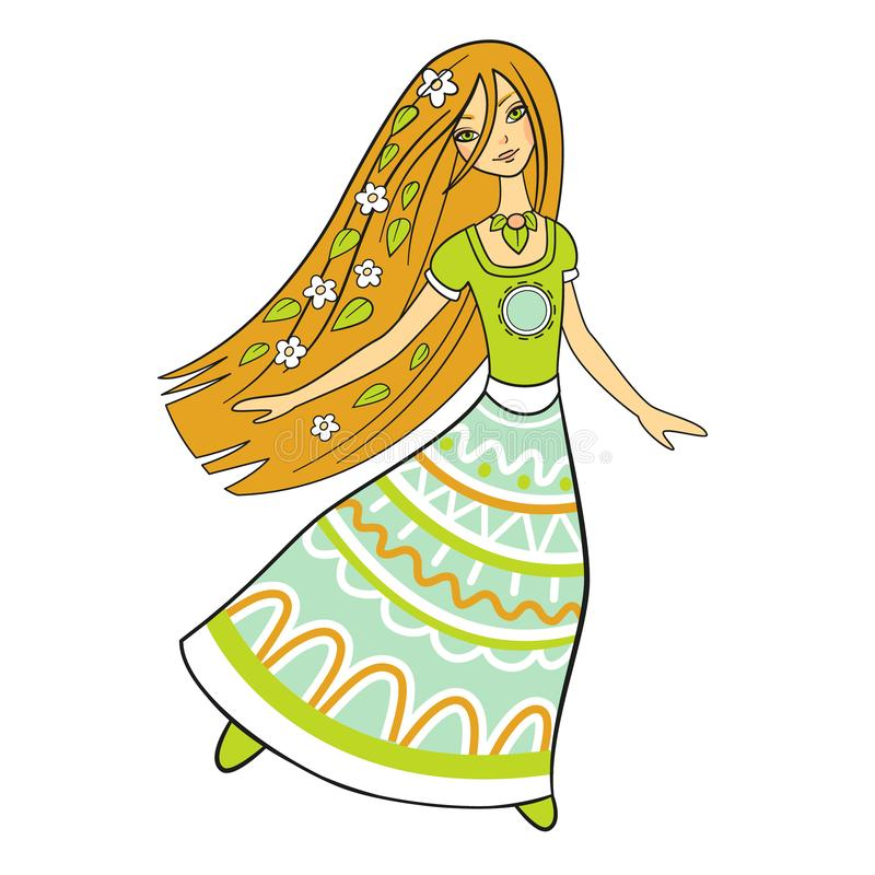 Baile en un vestido largo, vector aislado de la mujer del bosque Imagen hermosa de la naturaleza Muchacha del hippie ilustración del vector