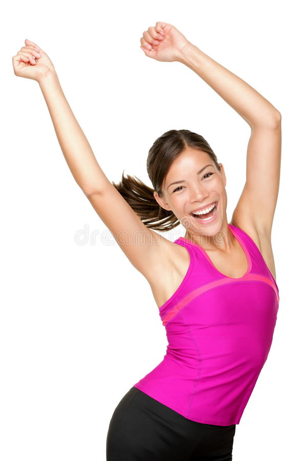 Baile feliz de la mujer de la aptitud fotos de archivo libres de regalías