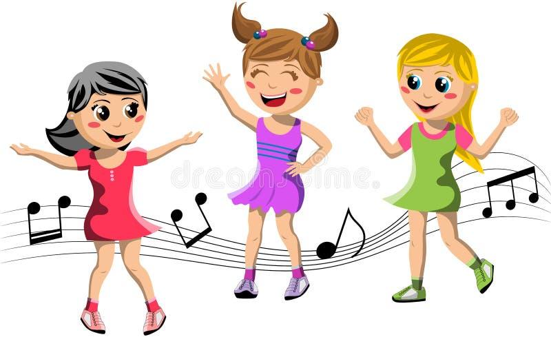 Baile feliz de los niños ilustración del vector
