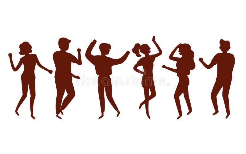 Baile feliz joven de la mujer y del hombre para ir de fiesta m?sica Silueta negra Ser humano elegante en el acontecimiento del fe libre illustration