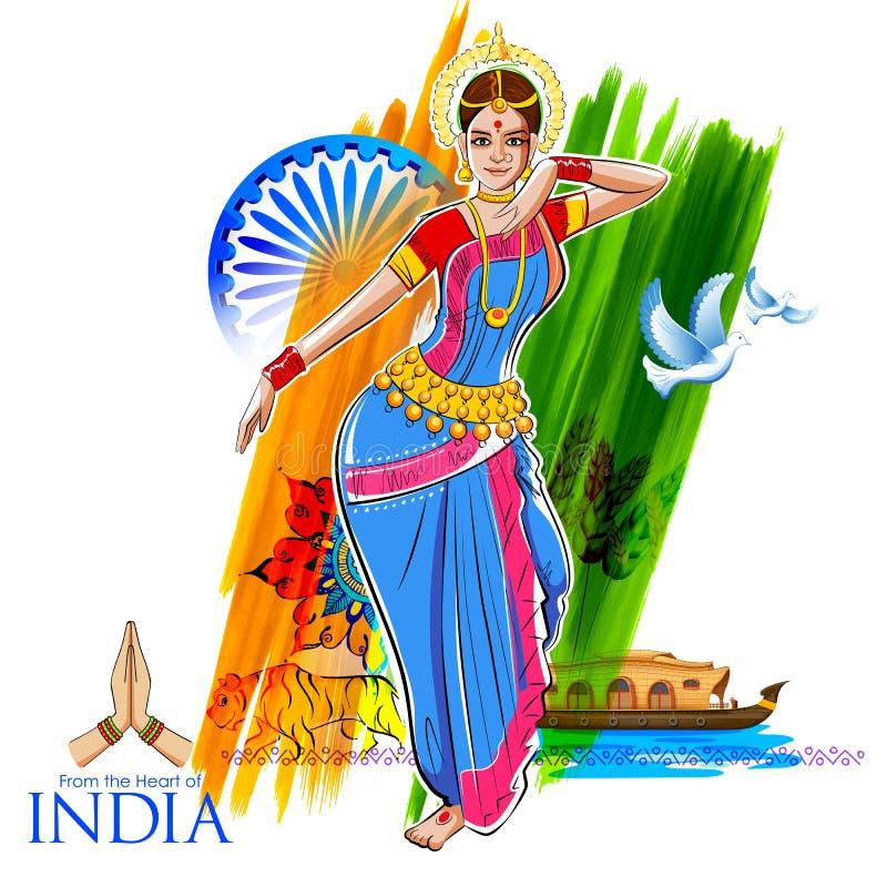Baile femenino del bailarín en el fondo indio que muestra la cultura colorida de la India stock de ilustración