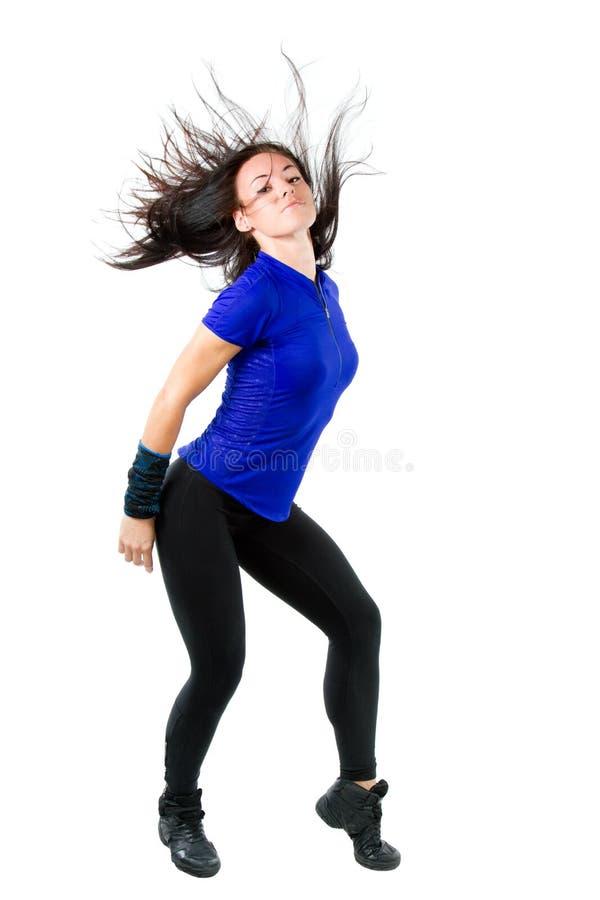 Baile hermoso de la mujer, agitando su pelo largo fotos de archivo