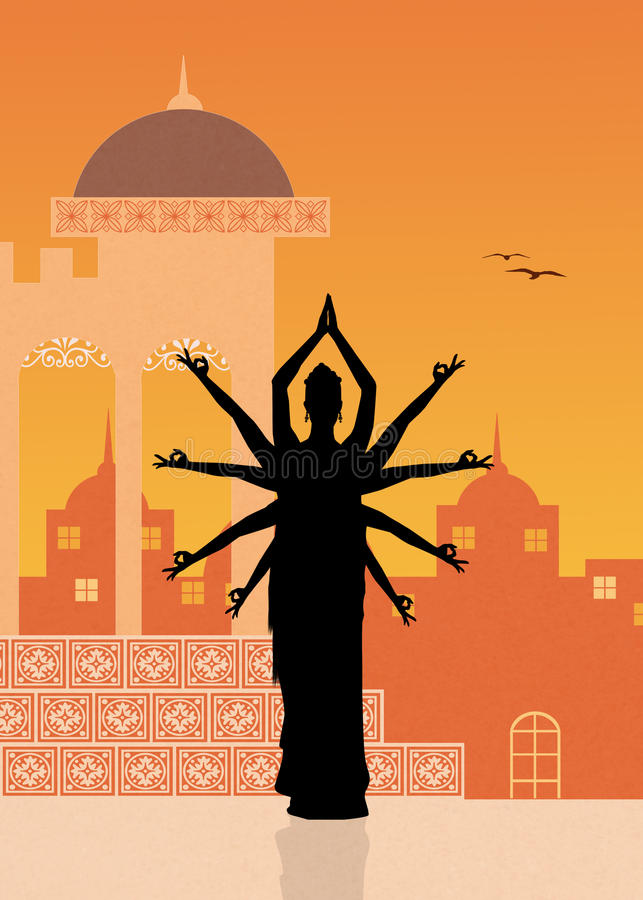 Baile indio de la mujer stock de ilustración
