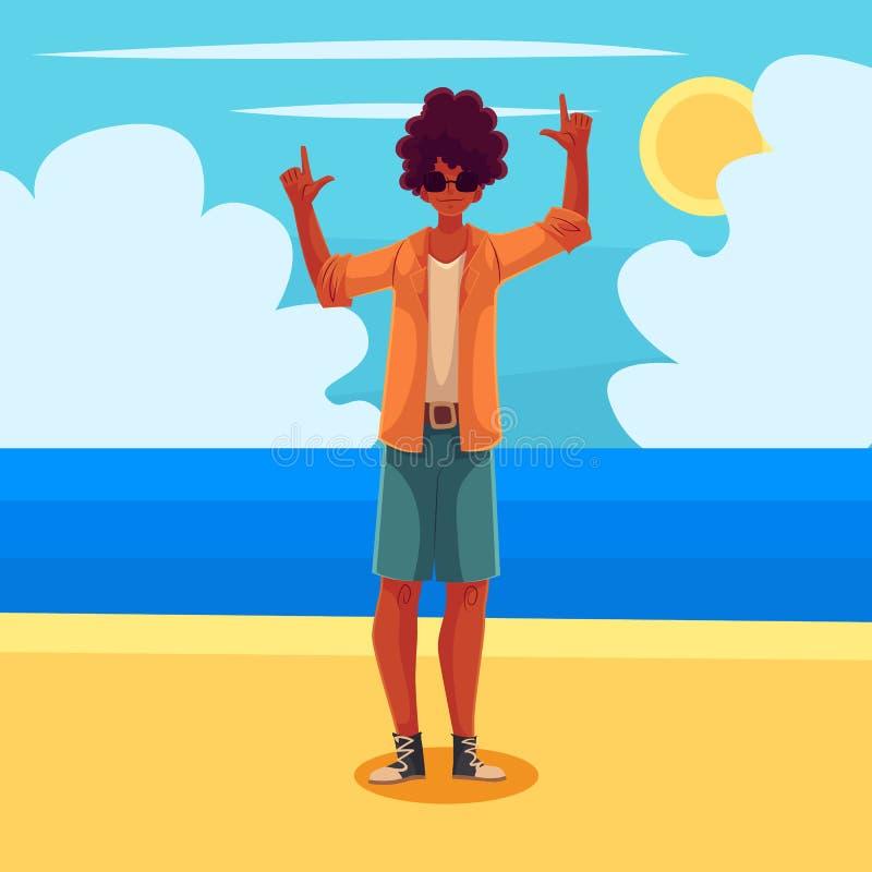 Baile joven del hombre del afroamericano ilustración del vector