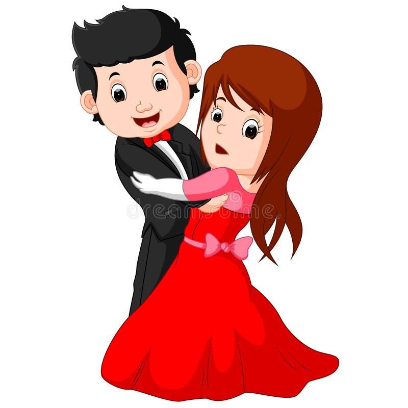 Baile joven del muchacho y de la muchacha de la historieta libre illustration