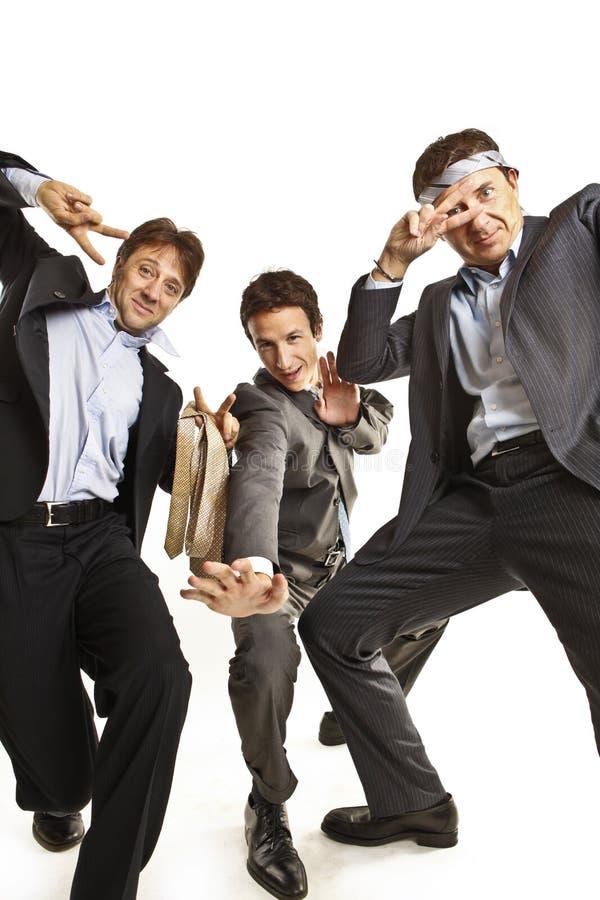Baile loco de los hombres de negocios imagen de archivo