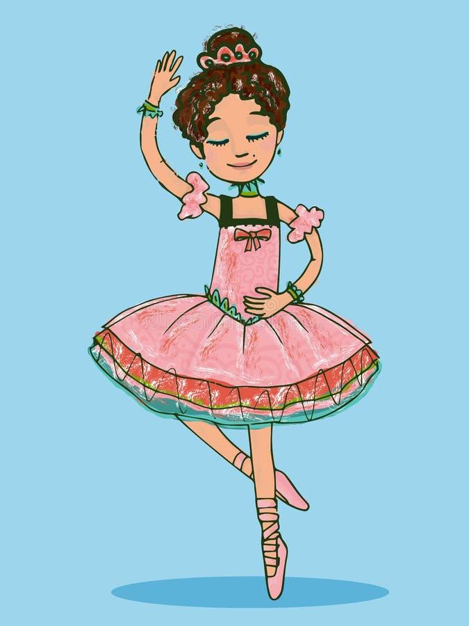 Baile moreno adorable de la muchacha de la bailarina en vestido rosado brillante stock de ilustración