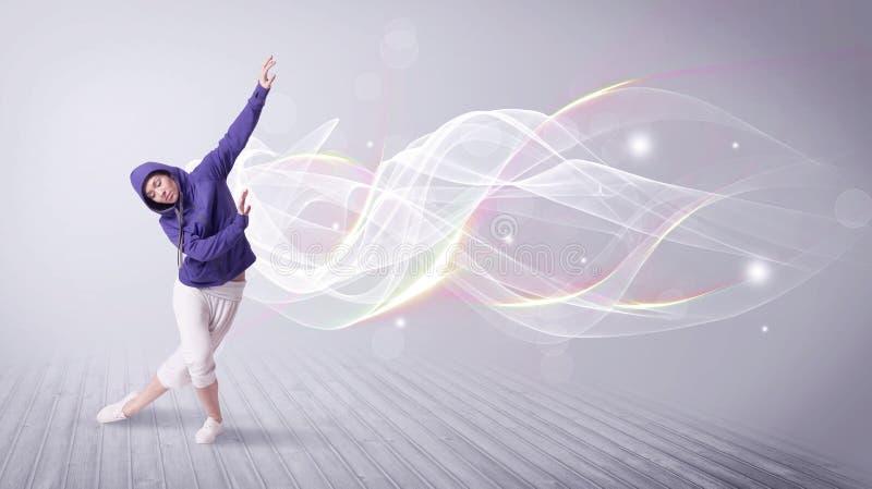 Baile urbano del breakdancer con las líneas blancas libre illustration
