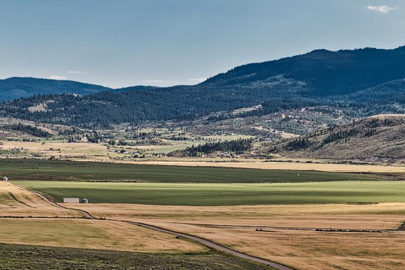 Bailey Creek Neighborhood in Soda Springs, ID stock photo