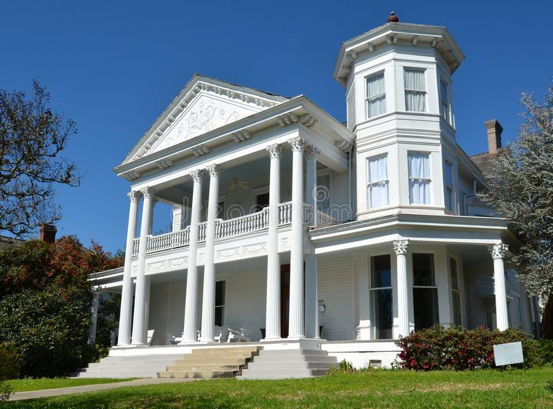 Bailey House. This is a Spring picture of the Jacob Bailey House in Natchez, Mississippi. The house built in 1897 is an example of the Colonial Revival style of stock image