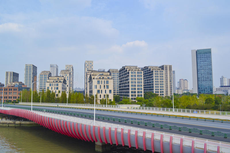 Bailianjing Bridge & Modern Buildings Royalty Free Stock Photos