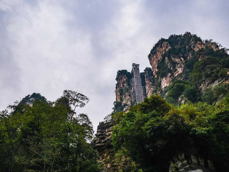 Bailong elevator of Zhangjiajie National Forest Park in Wulingyuan District Zhangjiajie City China. Bailong elevator The Highest Outdoor Elevator in The World stock photos