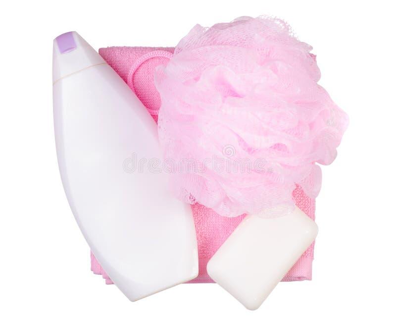 Bain d'éponge réglé de serviette de savon de gel de douche photos stock