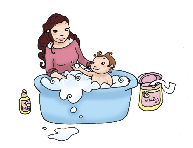 bain de chéri illustration de vecteur