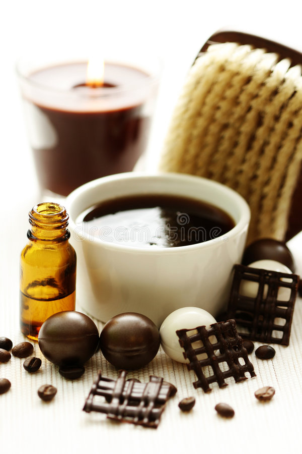 Bain de chocolat et de café photographie stock libre de droits