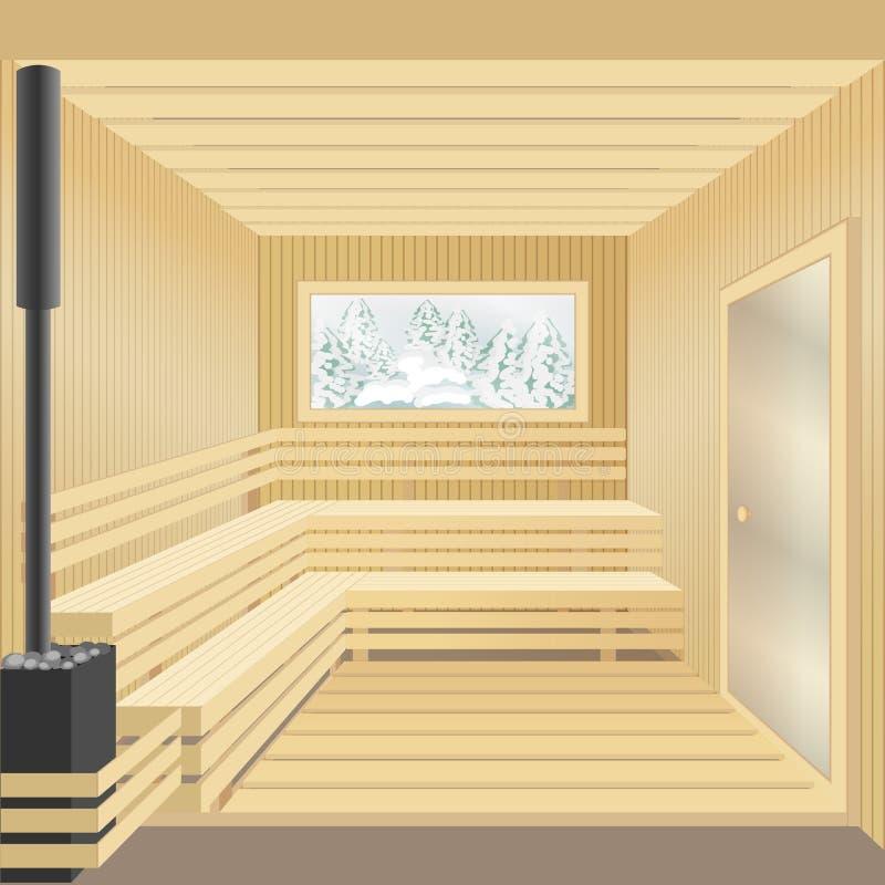 Bain en bois moderne de sauna avec le fourneau en pierre, porte en verre illustration de vecteur