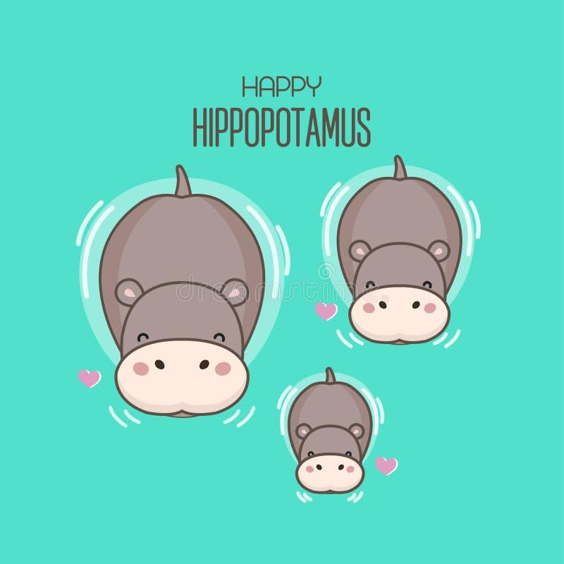 Bain heureux de famille d'hippopotame en rivière illustration libre de droits
