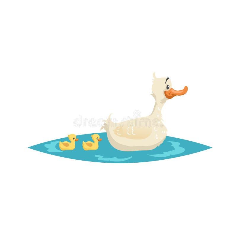 Bain mignon de canard de mère avec des canetons sur peu de lac Animaux de ferme Illustration de vecteur de style de bande dessiné illustration libre de droits