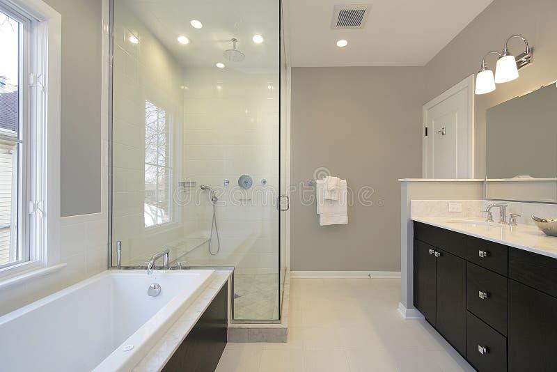Bain principal avec la douche en verre photo stock