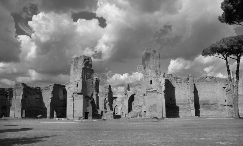 Bains de Caracalla à Rome B/W image libre de droits