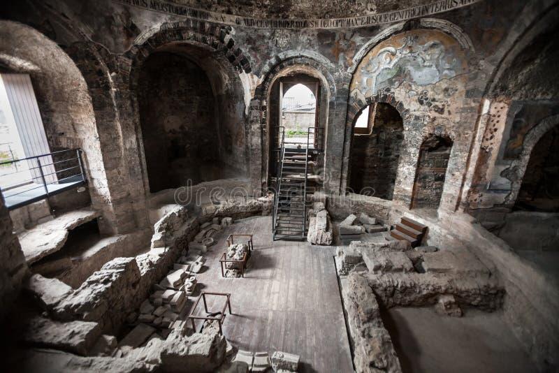 Bains romains antiques Catane, Sicile l'Italie photographie stock libre de droits