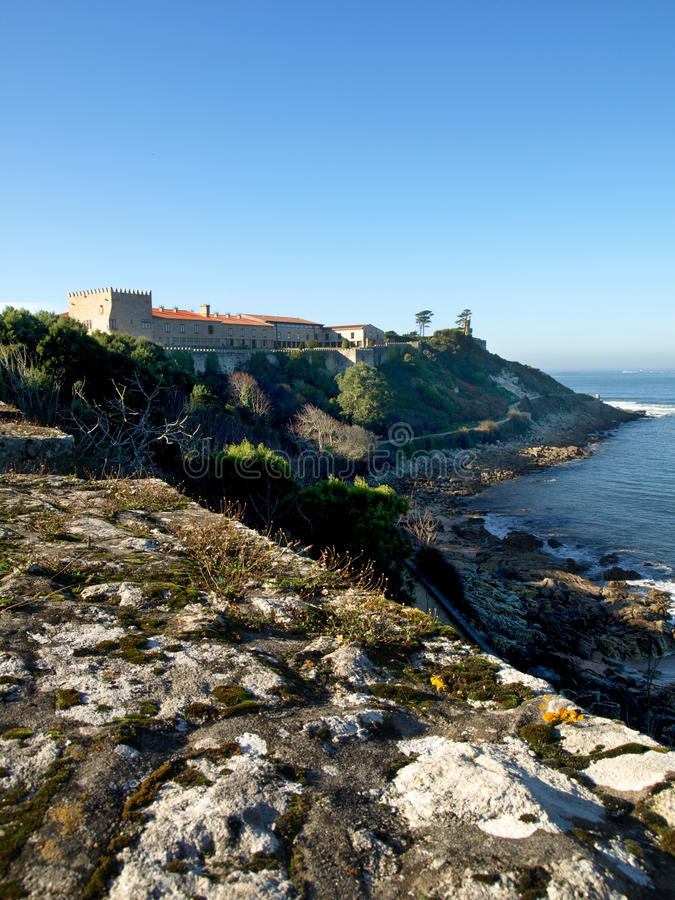 Download Baiona Castle stock photo. Image of waves, light, galicia - 12424564