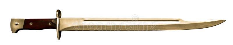 Baionetta russa per AK-47 o l'arma automatica del Kalashnikov sulla tavola di legno nera fotografie stock libere da diritti