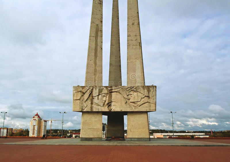 Baionette commemorative del complesso tre su Victory Square a Vitebsk fotografia stock