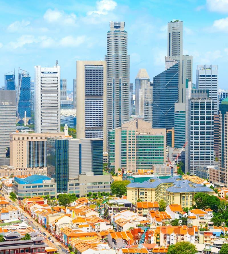 Bairro chinês do centro de Singapura da skyline aérea fotografia de stock