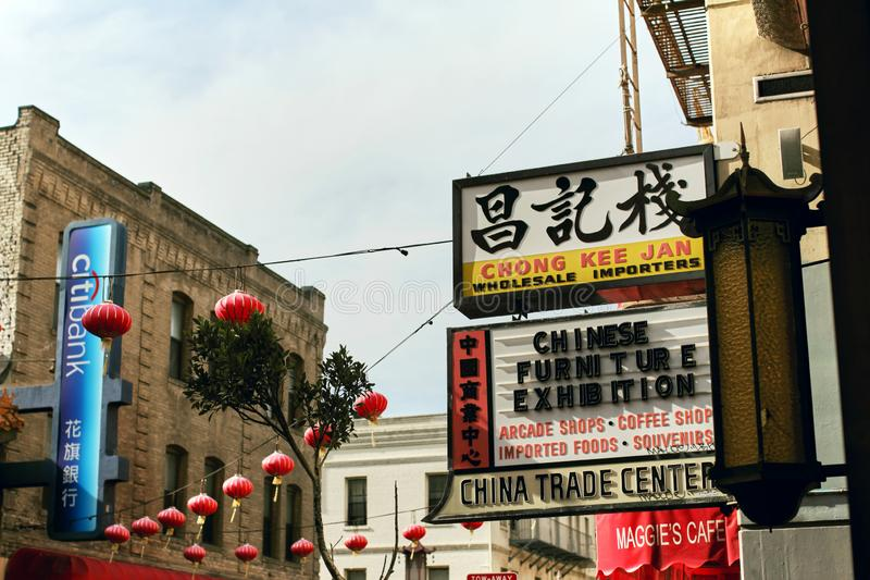 Bairro chin?s colorido em San Francisco, Calif?rnia foto de stock royalty free