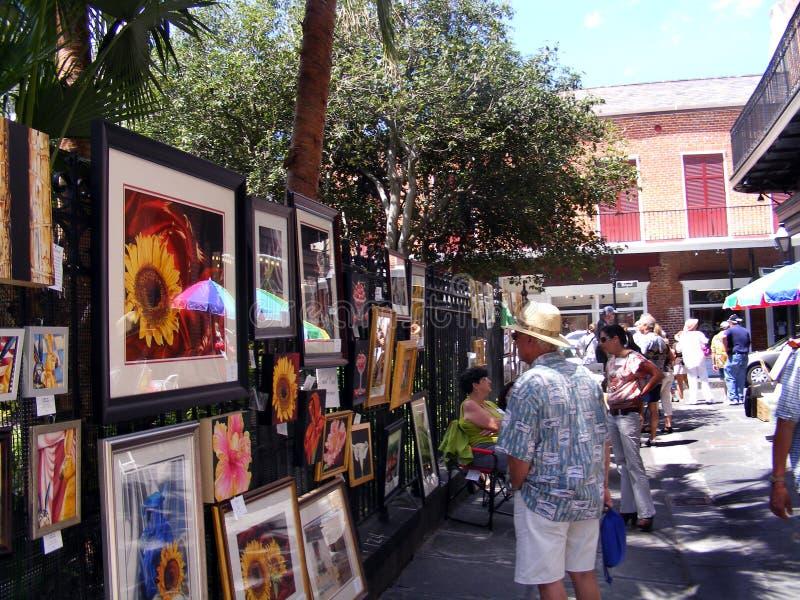 Bairro francês Vieux Carre JacksonSquare Art Alley Tourist de Nova Orleães imagens de stock royalty free