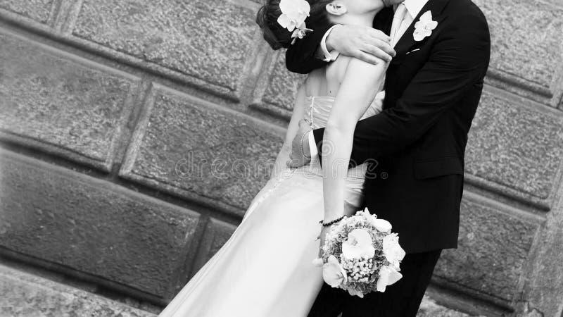 Baiser de jeunes mariés image libre de droits