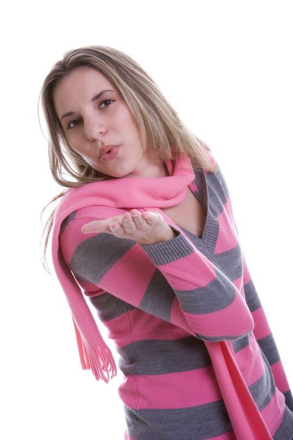 Baiser de soufflement de femme photos stock