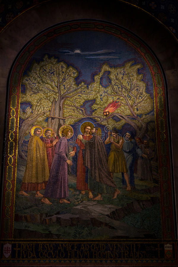 Baiser des judas dans le jardin de Gethsemane, toute l'église de nation, Jérusalem photo libre de droits