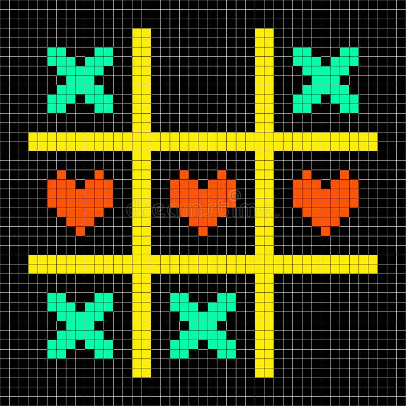 baisers d'Art Tic Tac Toe With de pixel et symboles à 8 bits de coeur d'amour illustration libre de droits