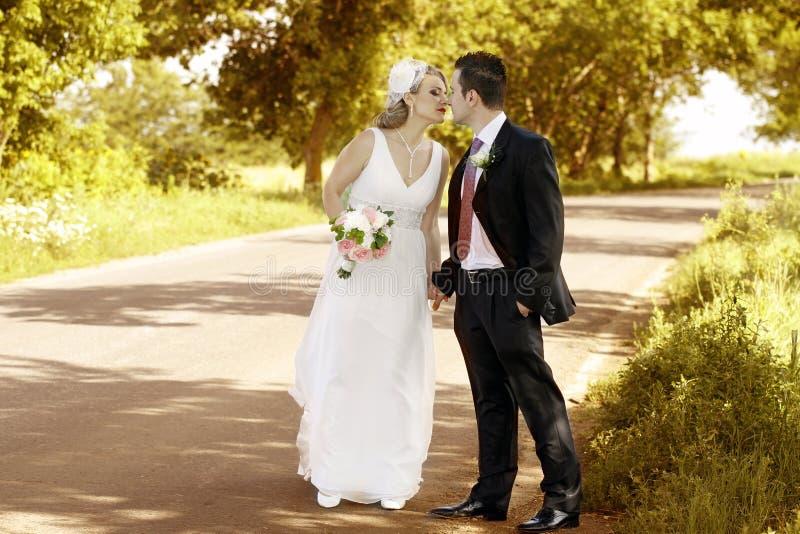 Baisers de couples de mariage images stock