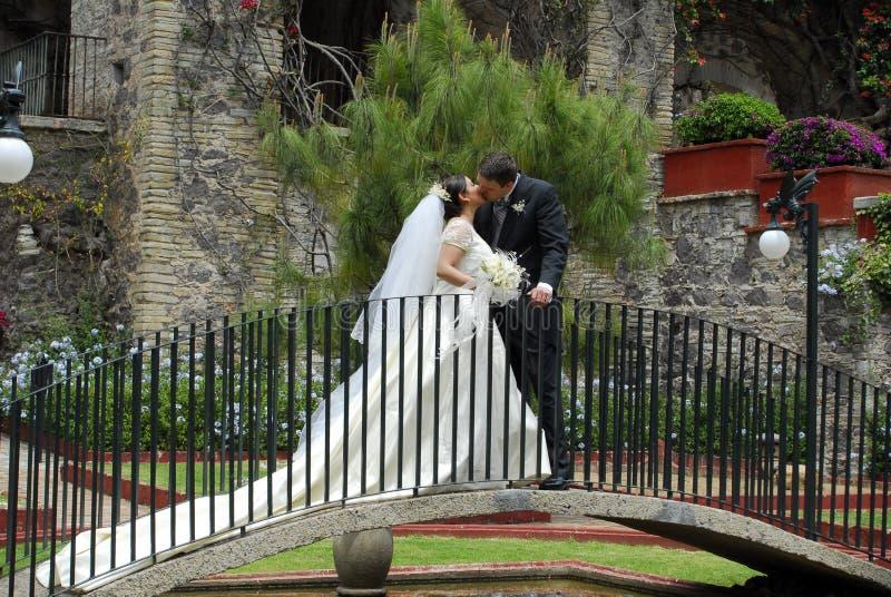 Baisers de couples de mariage photographie stock libre de droits