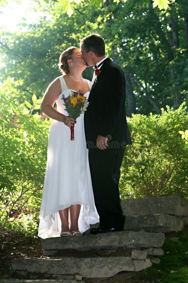Baisers de couples de nouveaux mariés image stock