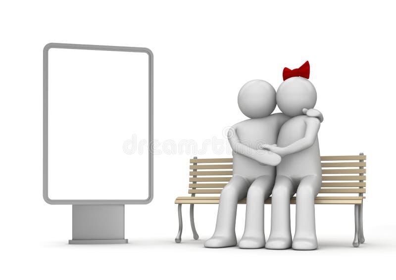 Baisers de l'homme et du femme sur un banc avec le copyspace image stock