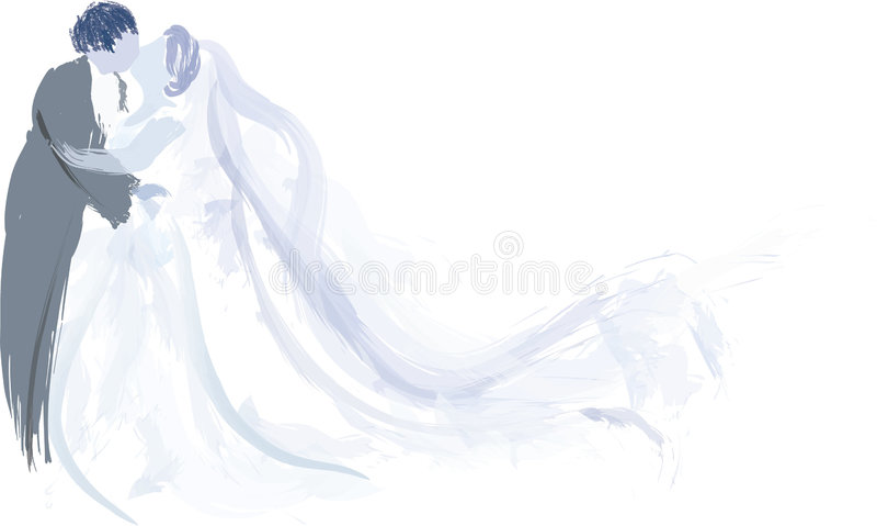 Baisers de mariée et de marié   illustration stock