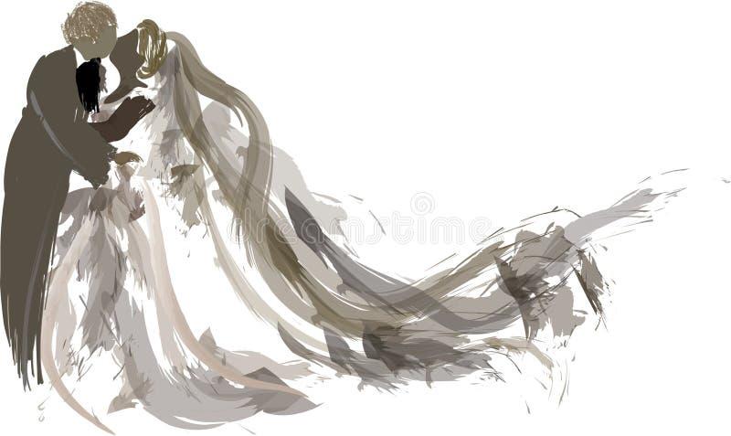 Baisers de mariée et de marié   illustration libre de droits