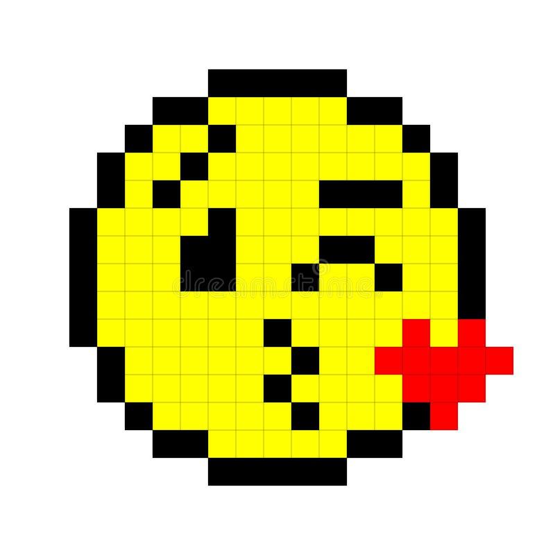 Baisers de sourire d'art de pixel Autocollant avec l'ombre illustration de vecteur